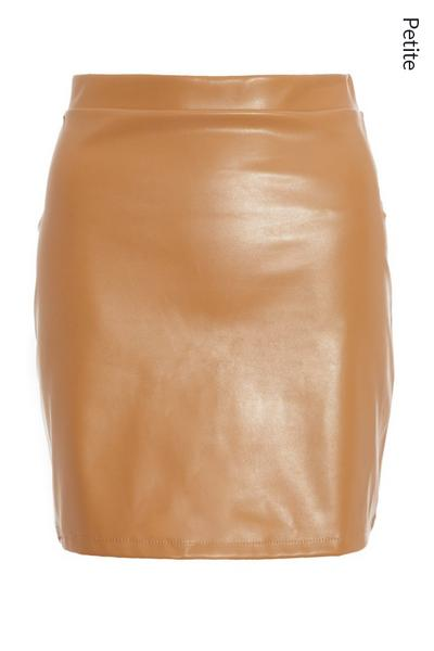 Petite Tan Faux Leather Mini Skirt